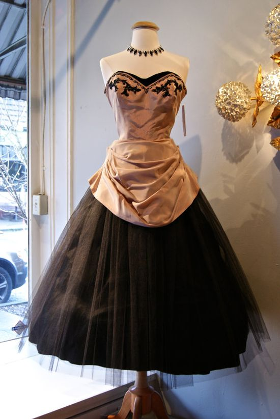 1950's Dusty Rose and Tulle Dress