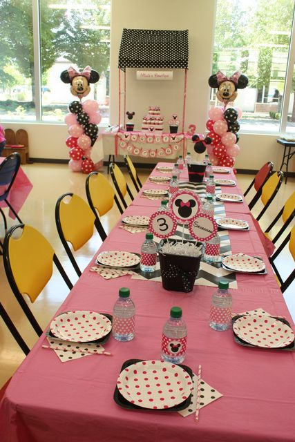 Table at a Minnie Mouse Party #minniemouse #partytable