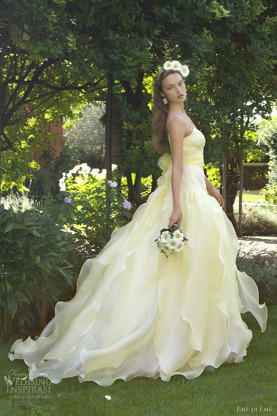 Wedding dresses 2013 pale yellow gown