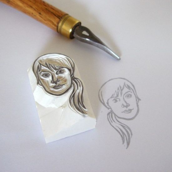 Custom portrait stamps! My girls would love these!