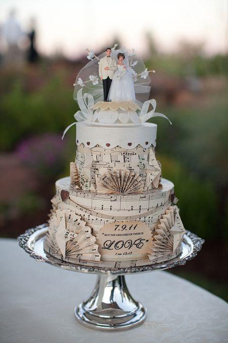 A creative, vintage-inspired #weddingcake fashioned from sheet music, Photo: @_MichelleCross #diywedding #motherofthebride #weddings