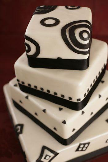 black and white modern wedding cake