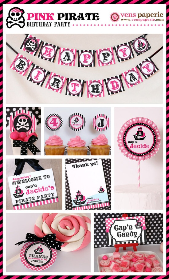 Avast! Pink pirate party , DIY printable decoration (www.venspaperie.com)