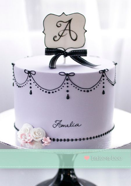 Parisian violet and black pearls themed cake by Bake-a-boo Cakes NZ, via Flickr