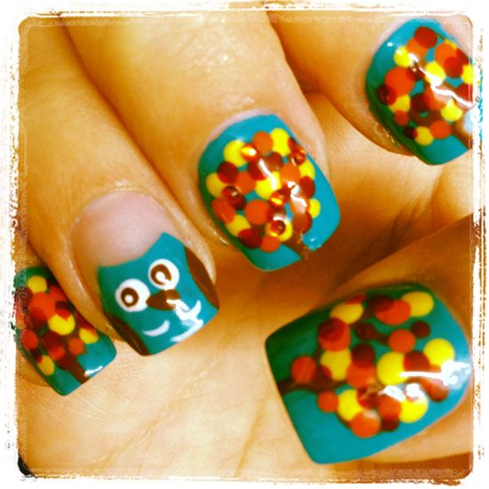Owl fall nail designs @Ashley Walters Healy figured you would enjoy these :)