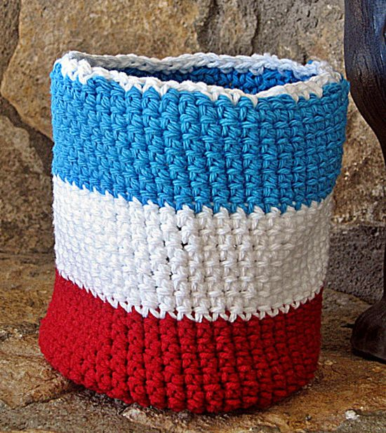 Crochet Basket Crochet Bowl Red White and by HandmadeByAnnabelle, $15.00