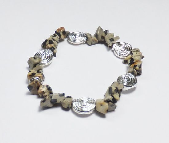 Dalmatian Jasper Bracelet with Shiny Silver-Plated Beads, by Designs by Tamiza, tzteja on Etsy, $12.00 #jewelry, #bracelet, #beaded, #designsbytamiza, #noclaspjewelry, #handmade, #ooak, #natural, #dalmatian, #jasper, #silver