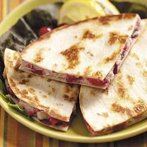 Spicy Turkey Quesadillas Recipe from Taste of Home #turkey #leftovers