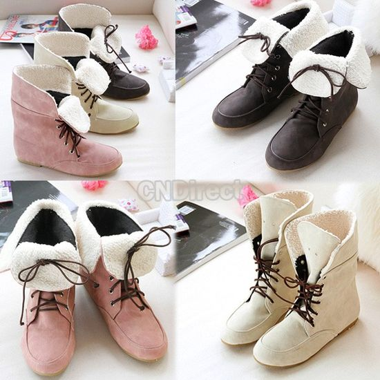 Girls Fashion Style Lace Up Winter Short Boots Flat Ankle Shoes