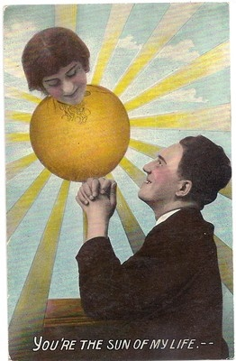 """Vintage Postcard Romantic Valentine """"You're The Sun of My Life"""""""