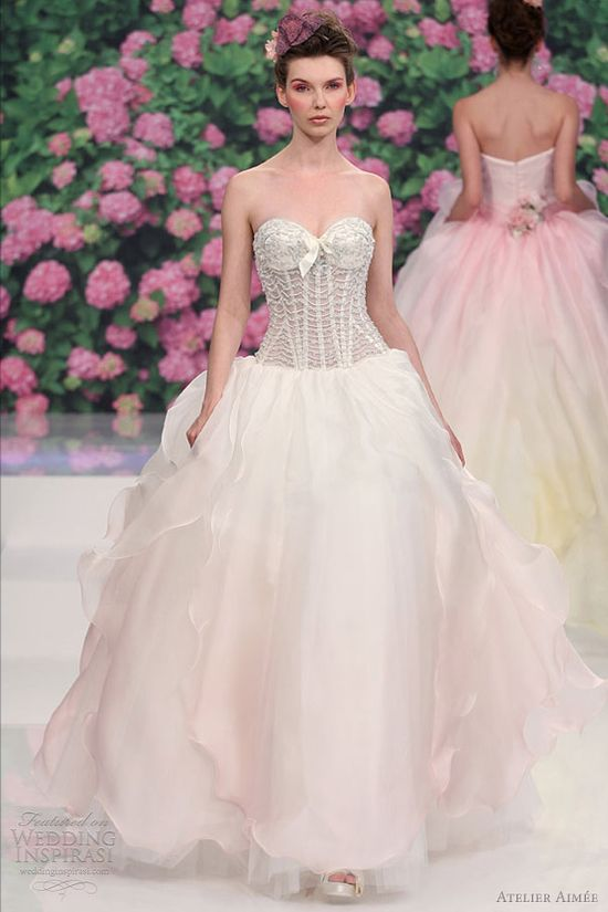 atelier aimee bridal 2013 rose pink ombre color wedding dress
