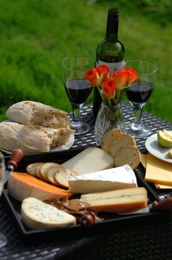 Cheese and wine at Stone Farmhouse