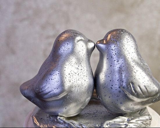 Silver Mercury Glass Finish Love Bird Cake by danceswithclay, $60.00