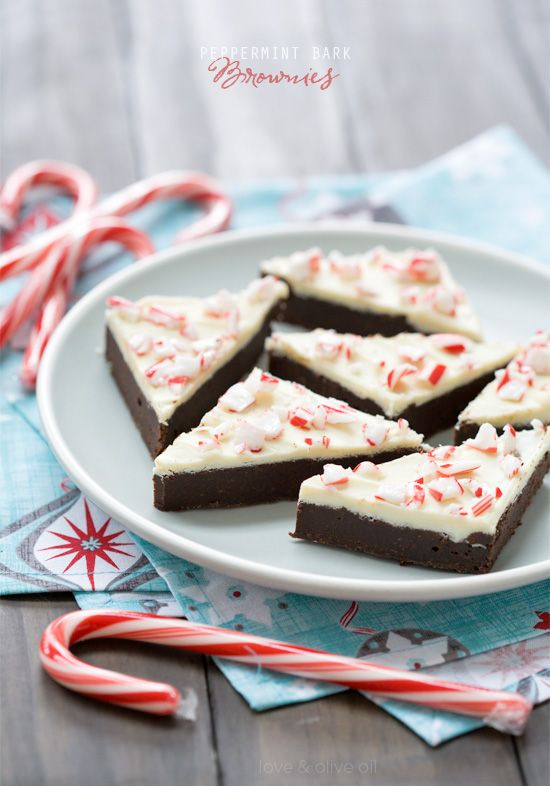 Rich, fudgy chocolate brownies with a white chocolate peppermint bark topping.