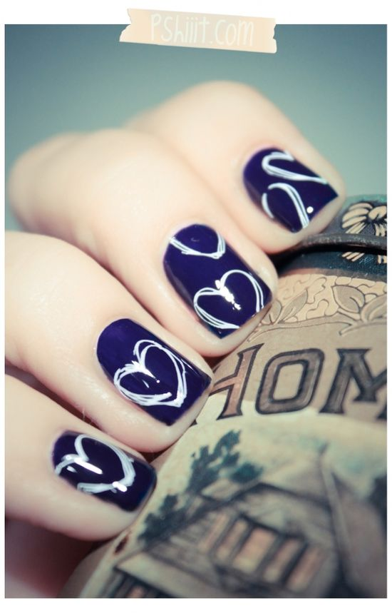 Navy Blue with White Hearts