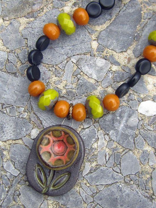Handmade Flower Pendant Necklace Green Burnt Orange Black Ceramic OOAK Gift Rich Colors Holiday Jewelry Winter