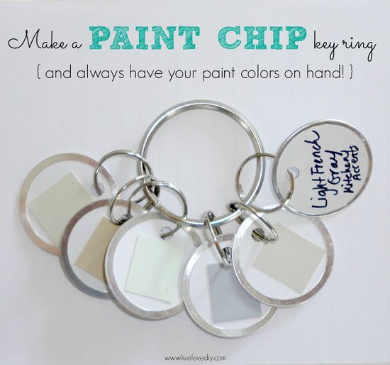 10 Paint Secrets: How to make a paint chip key ring with all of your home's paint colors on it!  It's super handy when you're out shopping for fabric, furniture, or decorative accents like pillows, etc.