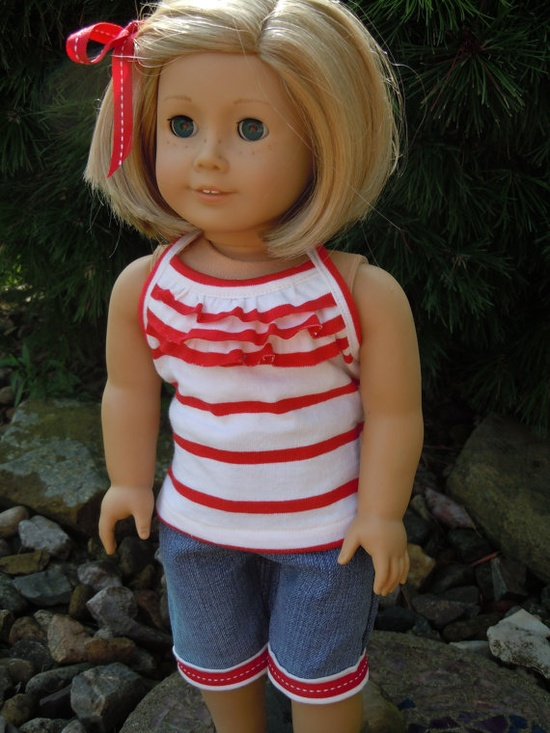 American girl doll ruffled tank top and capri by CharsBoutique1958, $16.00