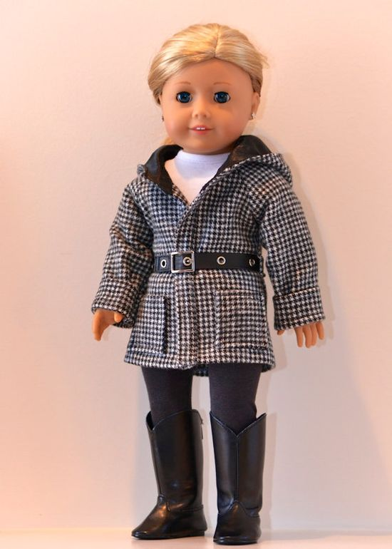 "18 inch American Girl Doll Clothing Active wear  by Simply18Inches, 55.00.The jacket is made from houndstooth cotton flannel for a ""wool"" look. It has a lined hood, cuffed sleeves and working patch pockets. It has a wrap front and faux leather belt with a silver buckle. It closes in front with velcro for ease of use, the buckle is decorative"