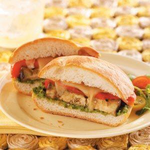 Grilled Veggie Sandwiches with Cilantro Pesto