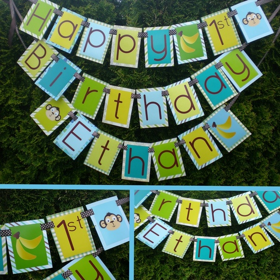 Monkey Birthday Party Ideas: boy monkey birthday banner