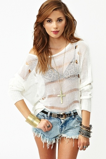 shredded knit top - would make a cute swim cover up!