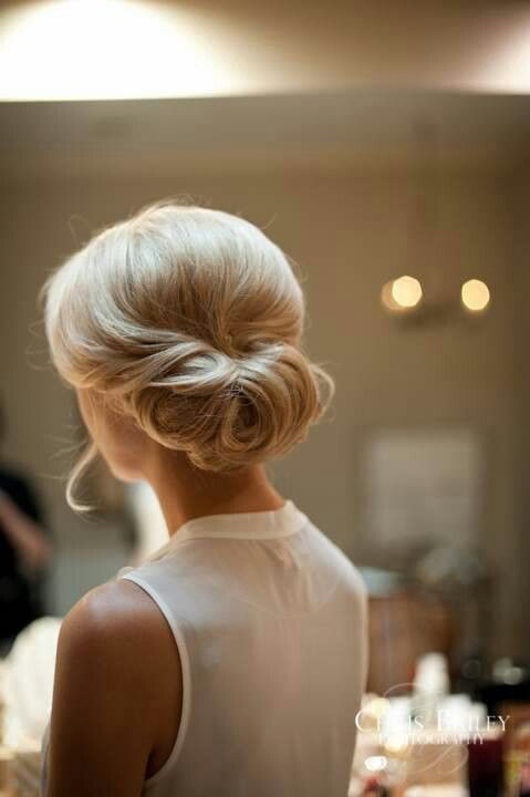 Wedding Hair. - nice bun, would add a braid in the front swoop