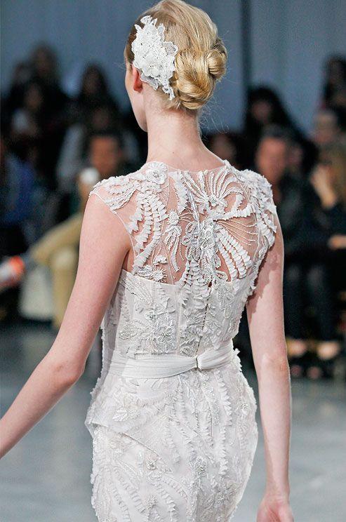 Textured wedding dress by Monique Lhuillier, Fall 2013.