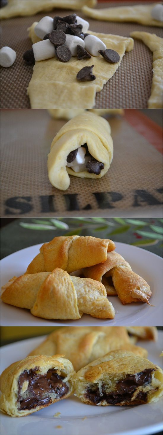 Crescent Roll S'more Recipe  Ingredients  1 tube of crescent rolls chocolate chips (about 1/2 cup) mini marshmallows (about 1/2 cup)