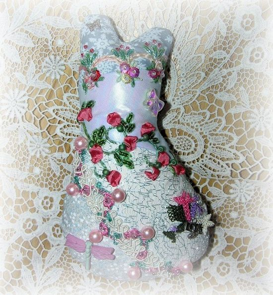 Cat Doll Hand Embroidered Crazy Quilt Beaded Blue by Kittyandme, $28.00