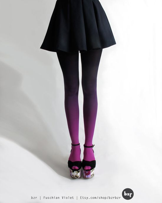(Tights not shoes...those are hideous)   bzr Ombré tights in Fuschian Violet by BZRshop on Etsy, $45.00
