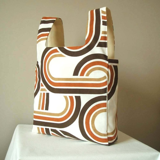 Reversible market day tote in chocolate and toffee brown by pouch, £25.00