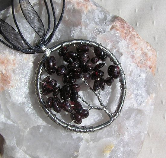 Garnet Crystal Gemstone Tree of Life Pendant  by SunnyCrystals, £9.00 #jewelry #pendant #garnet #red #tree