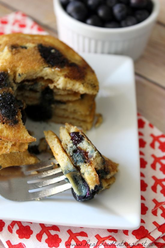 Coconut Flour Blueberry Pancakes (gluten-free, grain-free, nut-free, and dairy-free)