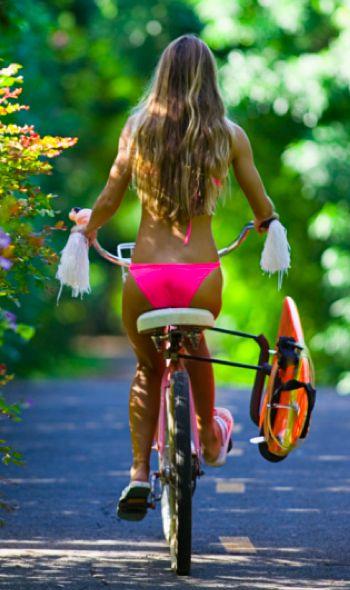 Bikini. Bike. Surfboard.