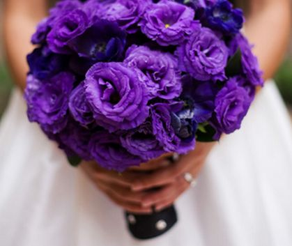 purple lisianthus wedding bouquet