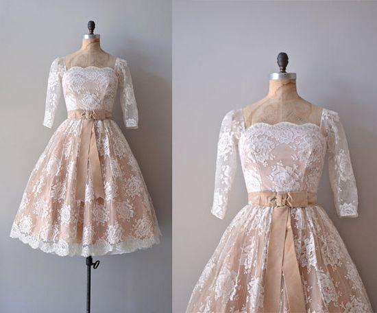 lace 1950s dress / vintage 50s dress / Sugarspun by DearGolden