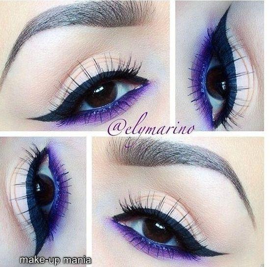 Nude eyes with purple lower lid - love!  #eyes #eye #makeup #smokey #bright #dramatic