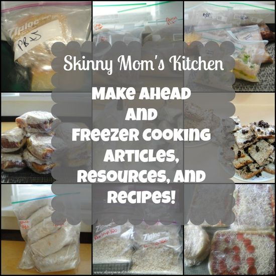 A complete list of Make Ahead and Freezer Cooking articles, resources, and recipes by Skinny Mom's Kitchen. #freezercooking #oamc