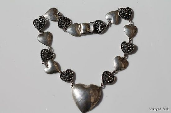 Vintage Hand Made Sterling Silver Puffy Heart Statement Necklace
