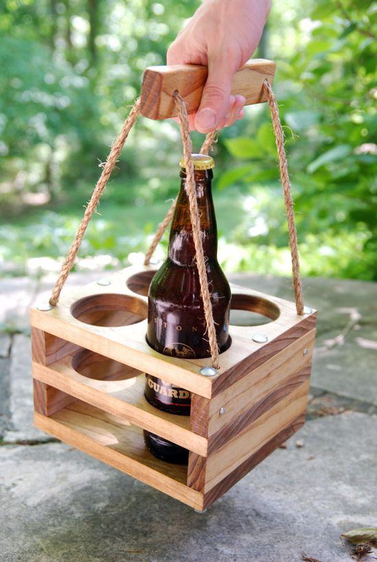 Handmade Wood Beer Carrier by jupalada on Etsy
