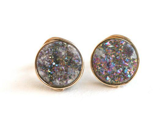Like fragments of a rainbow. Druzy quartz studs. $25.00, via Etsy.
