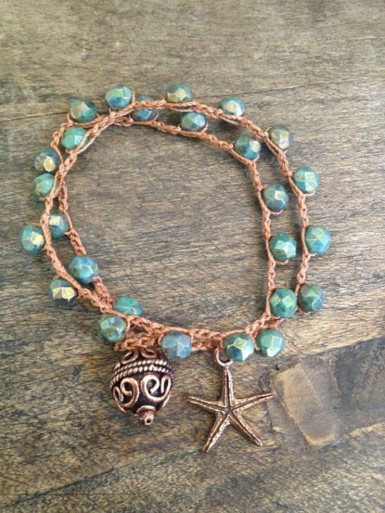 "Starfish Dreams Multi Wrap Crochet Bracelet ""Beach Chic"" $25.00"