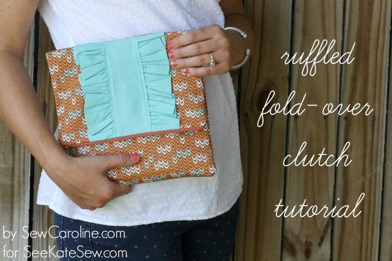 ruffled fold-over clutch tutorial // sewcaroline.com on seekatesew.com