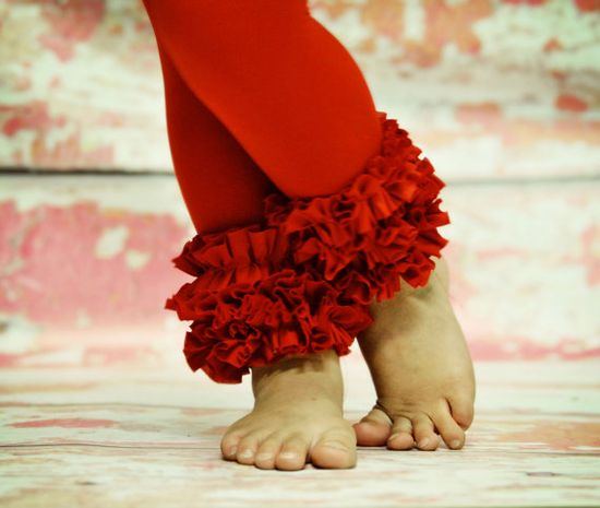 Red Ruffle footless tights