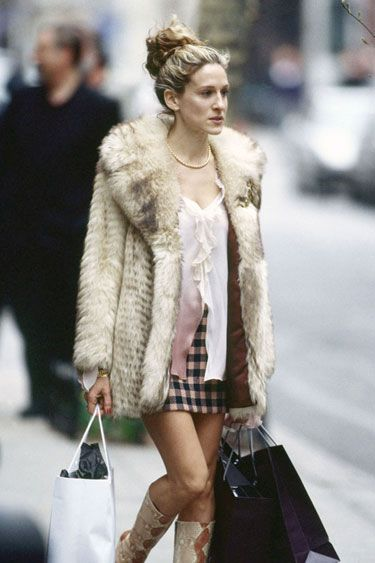 June 4, 2000: Sarah Jessica Parker as the style-influencing Carrie Bradshaw on Sex and the City  Here she is wearing a vintage fur coat.