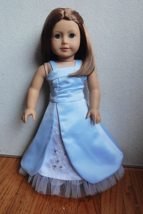 Custom Hand Embroidered Satin Split Skirt Prom Dress for  American Girl Doll You Pick Fabric. $35.00, via Etsy.