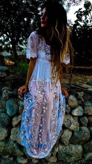 sheer embellished dress. boho chic