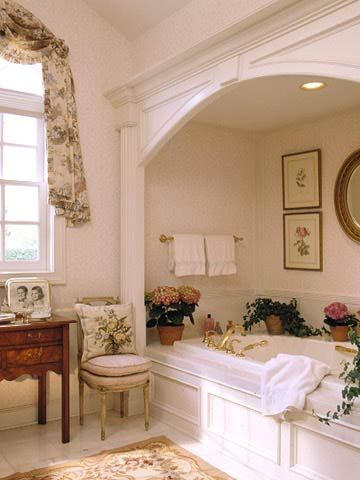 An alcove tub is so lovely.  You can add charm and elegance by how you trim it out and decorate the space around it.