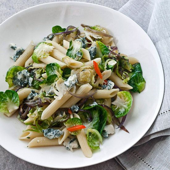 Penne Rigate with Brussels Sprouts & Gorgonzola // More Recipes from F Editors: www.foodandwine.c... #foodandwine